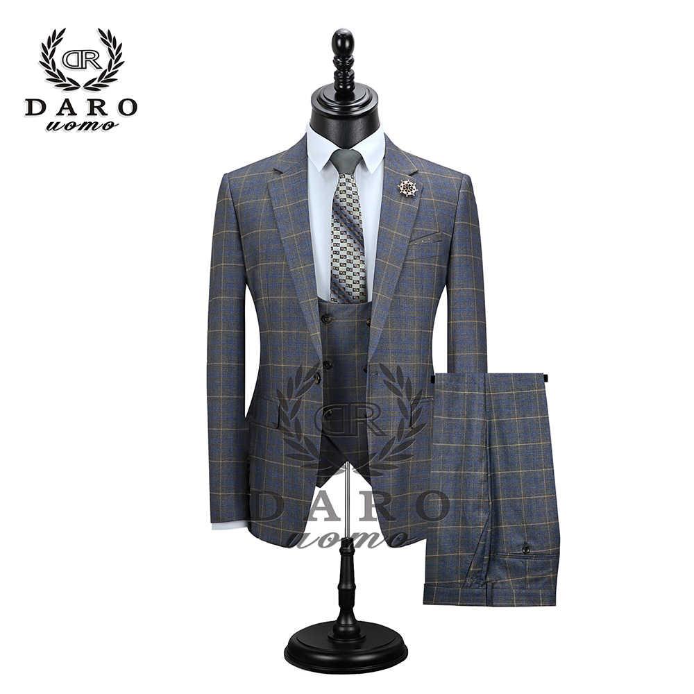 2019 мужской костюм Даро приталенный костюм Повседневная модная сетчатый блейзер с одной пуговицей куртка и брюки для свадебной вечеринки (DARO8038)