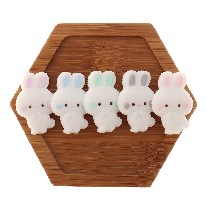 Rabbit Rodent Silicone Beads 50pc Baby Teether Bunny Infant Chewable Teething Necklace Pendant DIY Pacifier Soothe The Chain Toy