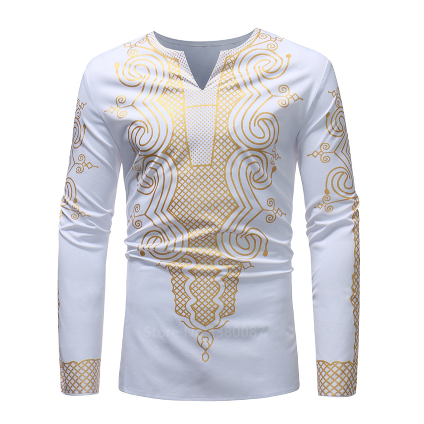 2020New Fashion African Dresses Clothes For Men Shirt Dashiki Hippie Luxury Banquet Bazin Riche Long Sleeve Traditional Blouse