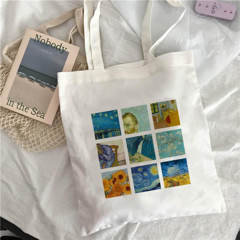 Van Gogh Art Oil Painting Graphic Canvas Shoulder Bag Cute Female Shoulder Bag Harajuku Ulzzang Grunge Tote Shopper Bag