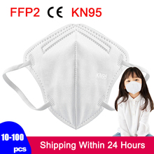 10-100 Pcs Child KN95 Children's Masks 5 Lay Filter mascarillas maske Boy and Girl 3-12 Years Old Kid Dust FFP2 Face Mask masque