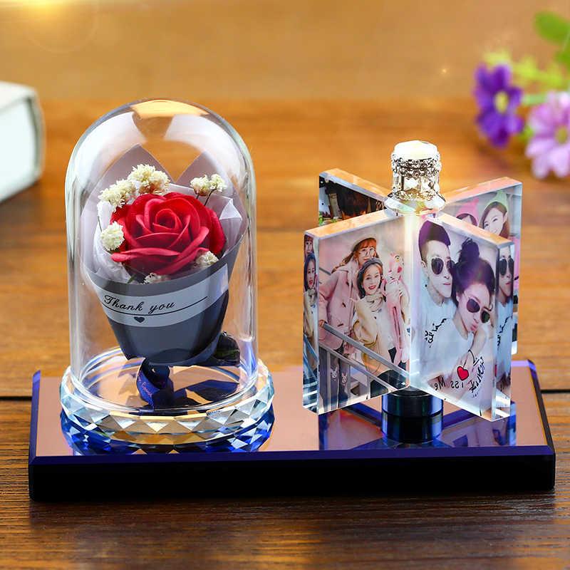 Foto di Cristallo Su Ordinazione Photo Frame Personalizza Stampato Album Fotografico Piazza Regalo di Foto di Nozze per Gli Ospiti Souvenir Regalo