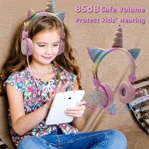 Image 3 - Mignon licorne filaire casque avec Microphone filles Daugther musique stéréo écouteur ordinateur téléphone Mobile Gamer casque enfants cadeau