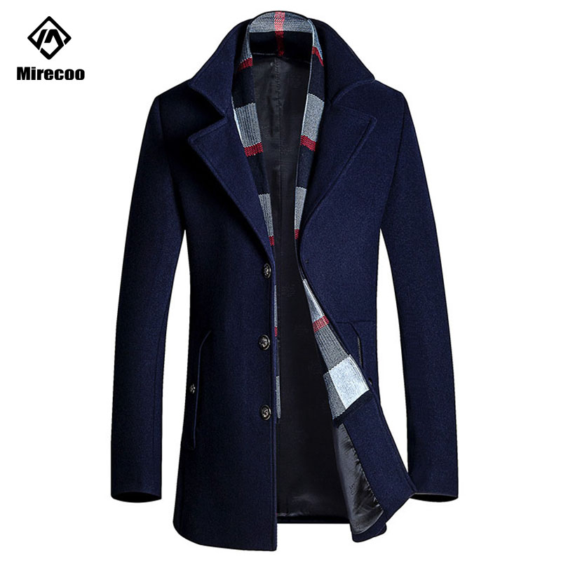Winter Business Wool Coat Slim Fit Jackets Detachable Scarf Fashion Outwear Warm Man Casual Jacket Overcoat Pea Coat Clothing