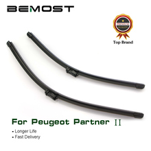 BEMOST Car Wiper Blades Natural Rubber For Peugeot Partner II 2008 2009 2010 2011 2012 2013 2014 2015 Fit Push Button Arm bemost car natural rubber wiper blades for peugeot rcz 26 26r 2009 2010 2011 2012 2013 2014 2015 2016 fit push button arms