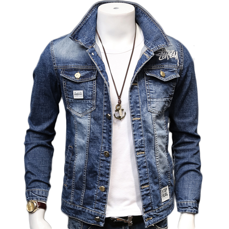 HCXY 2019 Spring Autumn Fashion Men's Denim Jackets Coats Men cotton Jacket  Mens Jean Jacket Outwear Male Cowboy Size 5XL