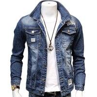 HCXY 2019 Spring Autumn Fashion Men's Denim Jackets Coats Men cotton Jacket Mens Jean Jacket Outwear Male Cowboy Size 5XL