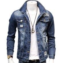 HCXY 2020 Spring Autumn Fashion Mens Denim Jackets Coats Men cotton Jacket  Mens Jean Jacket Outwear Male Cowboy Size 4XL