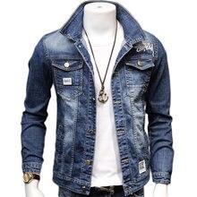 Мужская джинсовая куртка hcxy из хлопка и джинсовой ткани ковбойская