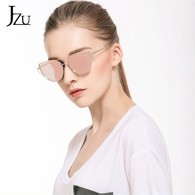 JZU Cat eye Brand Sunglasses Women Designer Mirror Flat Rose Gold Vintage Metal Reflective sunglasses women female Oculos Gafas 6