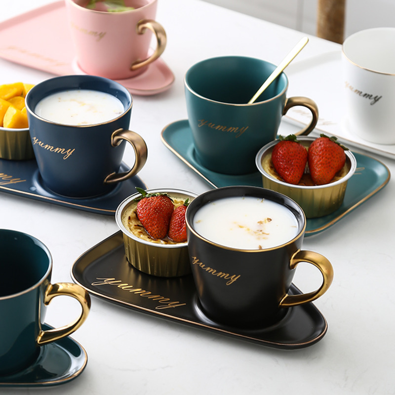 Nordic Ceramic Office Coffee Cup And Saucer Set Milk Tea Mugs Birthday Couples Tea Cups For Home Gifts Cup With Spoon Drinkware