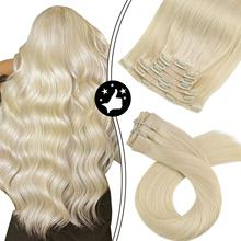 Seamless Clip in Hair Extensions Human Hair Color #60 Platinum Blonde 100g 7pcs Silky Straight PU Weft Natural and Invisible
