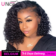 Unice Hair 13*4 Curly Lace Front Human Hair Wigs Short Brazilian Remy Wigs Curly Bob Wigs For Black Women Pre Plucked Wigs