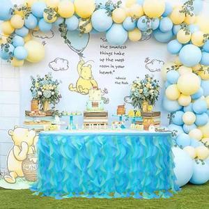 Falda de mesa de tul de Organza de 185x77cm para decoración de boda vajilla decoración de fiesta de cumpleaños suministros para fiesta de bienvenida de bebé