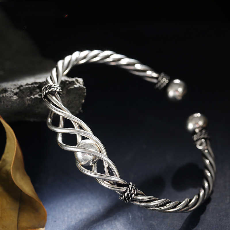 925 Sterling Silver Unique Handmade Silver Bracelet Simple Temperament Ball-twist Braided Opening Adjustable Women's Bracelet