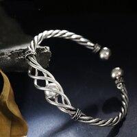 925 Sterling Silver Unique Handmade Silver Bracelet Simple Temperament Ball twist Braided Opening Adjustable Women's Bracelet