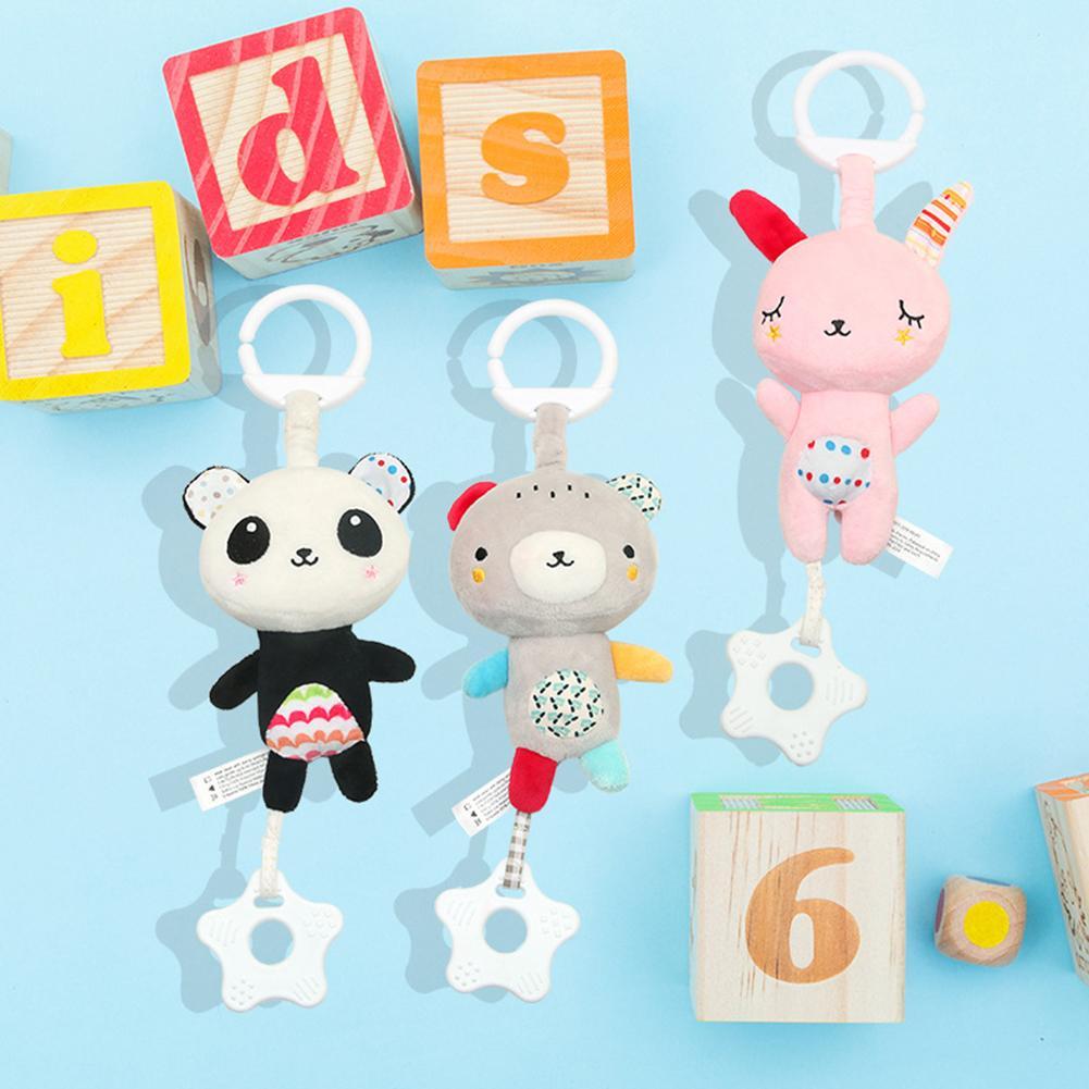 Plush Panda Animal Stroller Bed Mobile Rattle Bell Pendant Development Toy Gift For Infant Cute Rabbit Hand Bells
