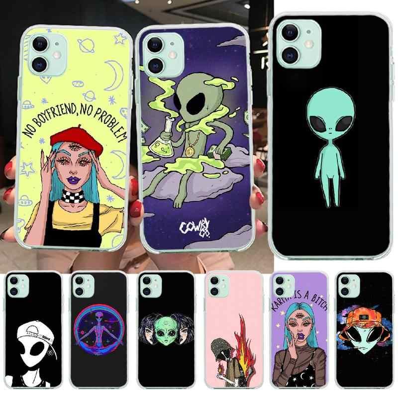 Custodia per telefono UFO Alien PENGHUWAN per iPhone 11 pro XS MAX 8 7 6 6S Plus X 5s SE XR cover