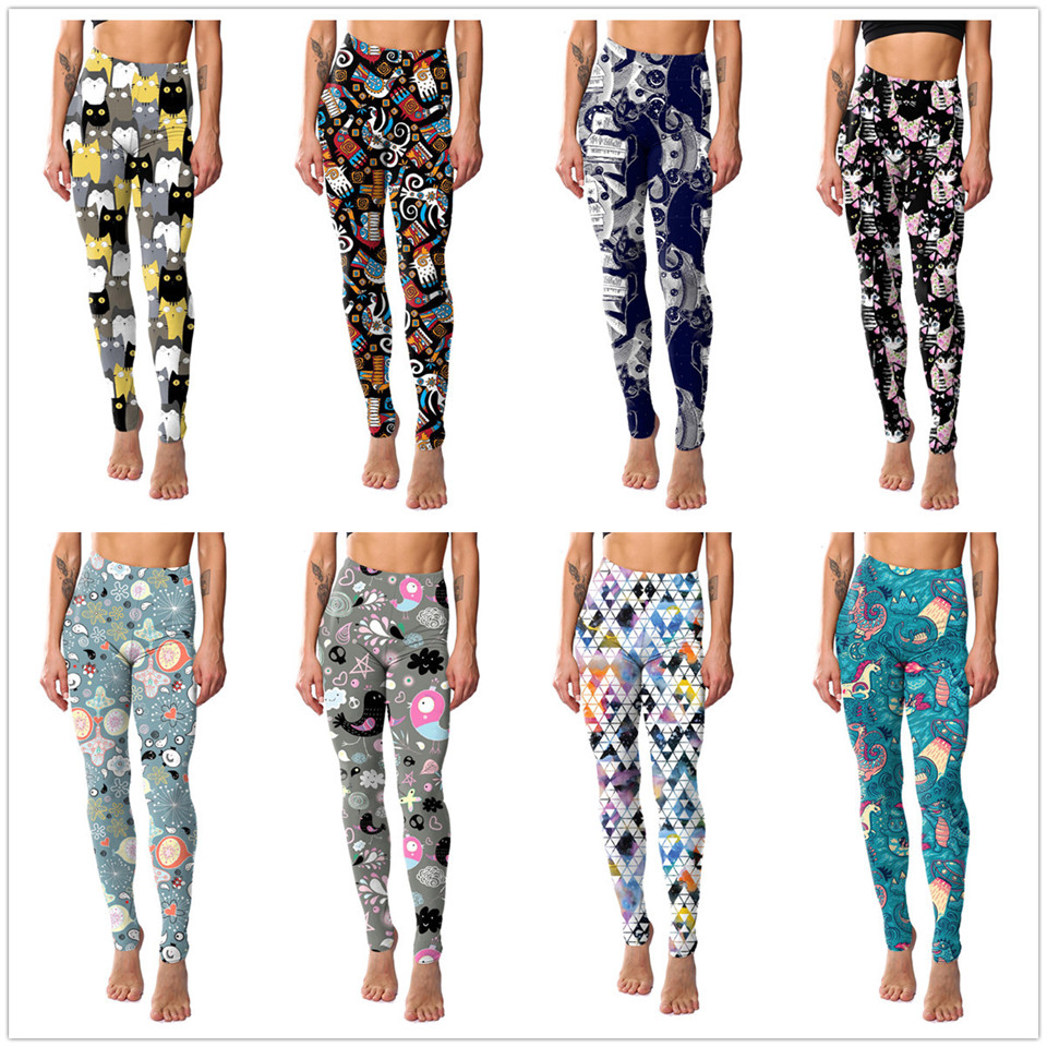 2019 New Cartoon Fitness Women Leggings Cat Print Elastic Leggins High Quality Polyester Plus Size Ankle-Length Pants Leggings