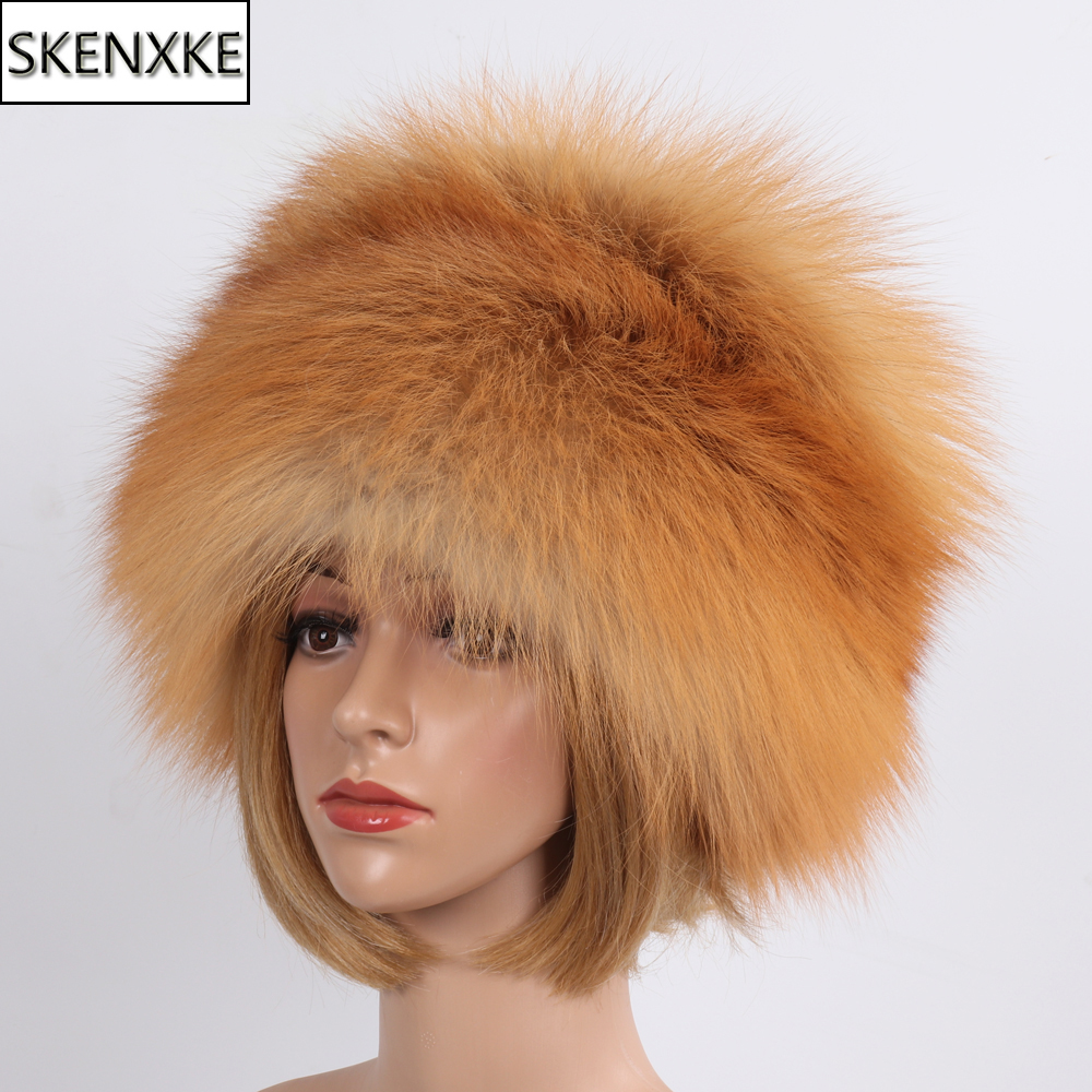 Brand Luxurious Winter 100% Natural Fox Fur Bomber Hats Women Thick Warm Fluffy Real Fox Fur Hat Full Pelt Lady Real Fur Caps