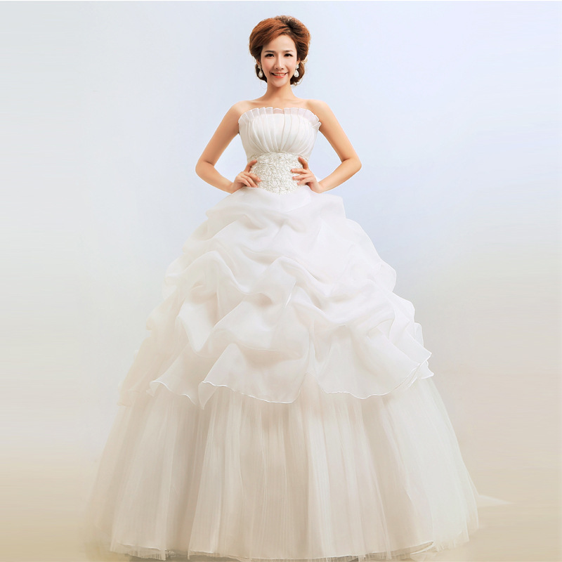 Gryffon Wedding Dress Elegant Strapless Ball Gown Princess Simple Appliques Wedding Gowns Vestido De Noiva Cheap Dress