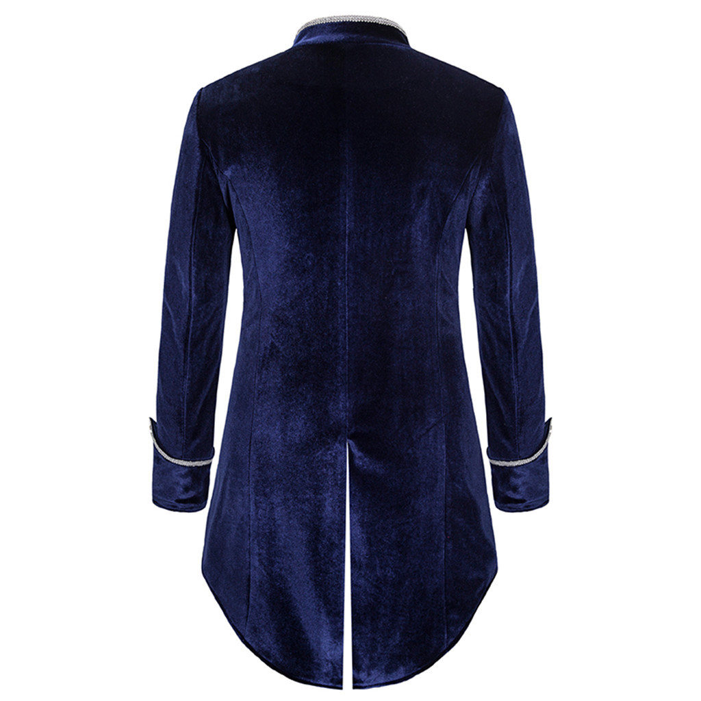MENS STEAMPUNK TAILCOAT JACKET BLUE VELVET GOTHIC VICTORIAN FROCK COAT