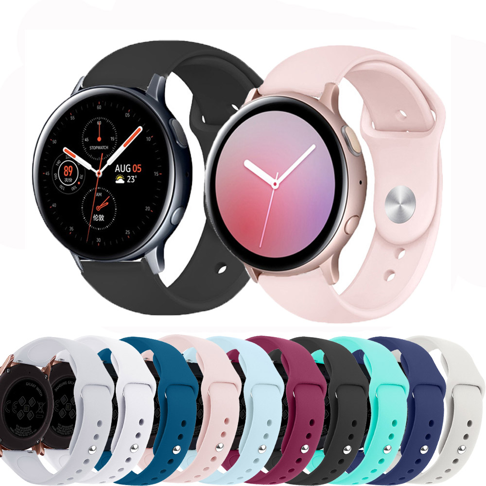 20mm Watch Strap For Samsung Galaxy Watch Active/Active2 Band Gear S2/Sport Soft Silicone Bracelet Amazfit Bip Strap Accessories