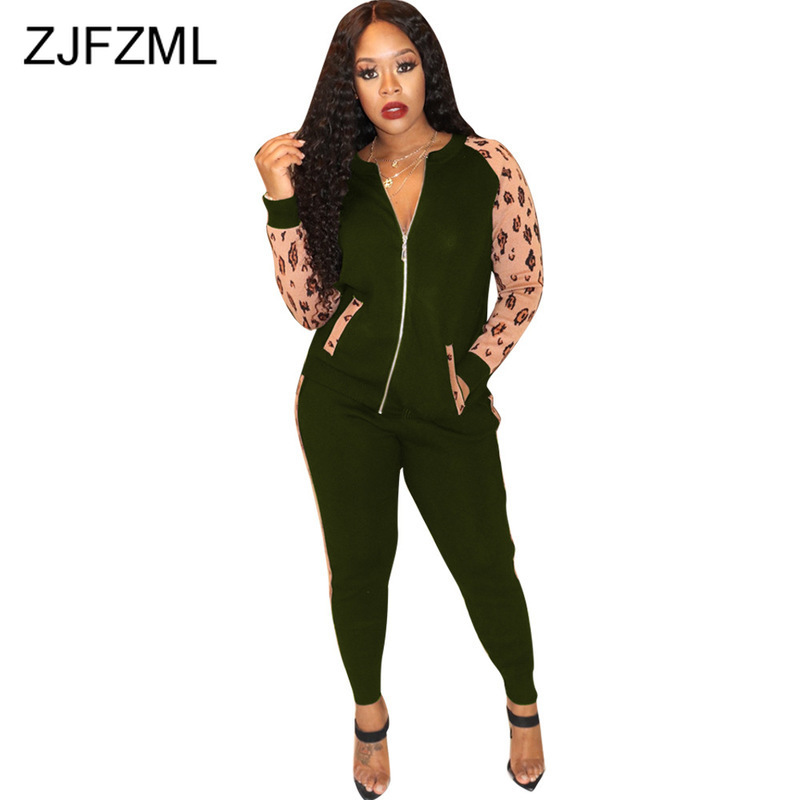 Plus Size Casual 2 Piece Outfit For Women Leopard Patchwork Full Sleeve Coat Fitness  Leggings Autumn Witner Two Piece Tracksuit