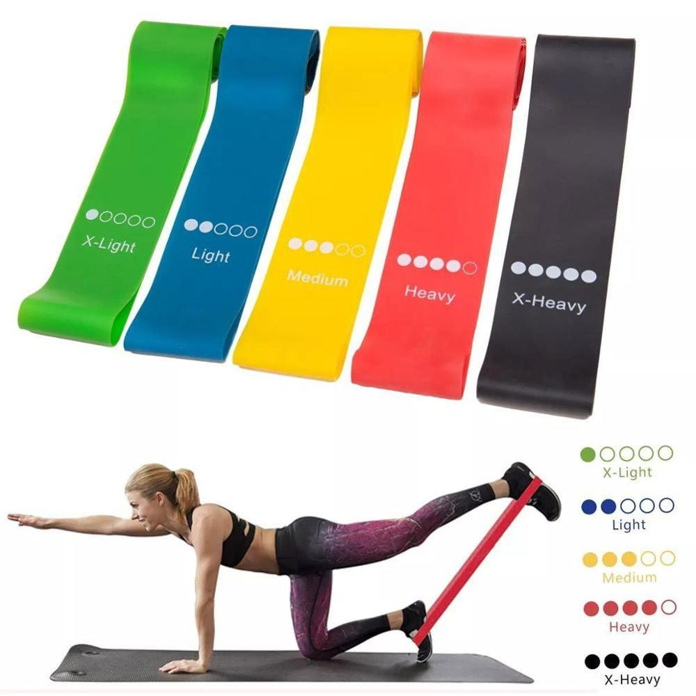 5 Sizes Yoga Resistance Rubber Bands Indoor Outdoor Fitness Equipment 0.35mm-1.1mm Pilates Sport Training Workout Elastic Bands