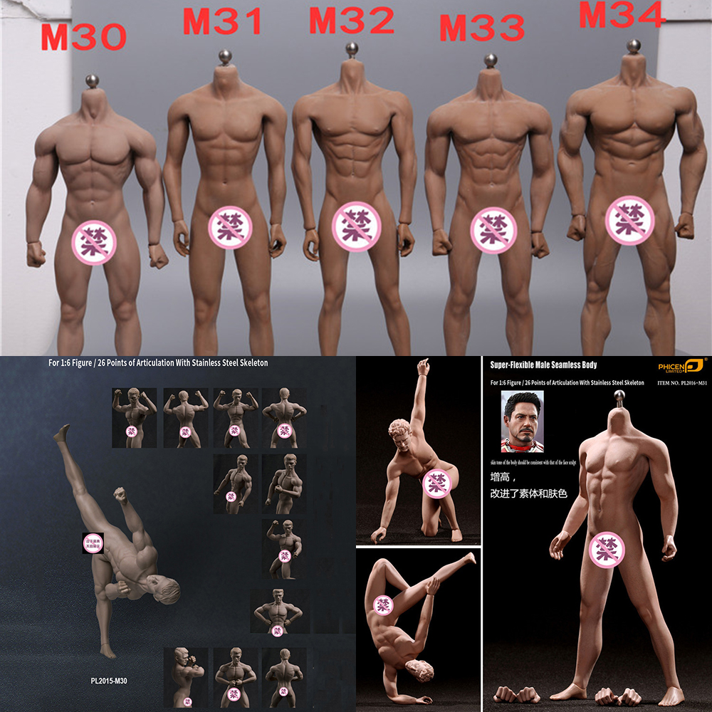 1//6 TBLeague M34 Flexible Seamless Super Muscular Male Figure Steel Skeleton