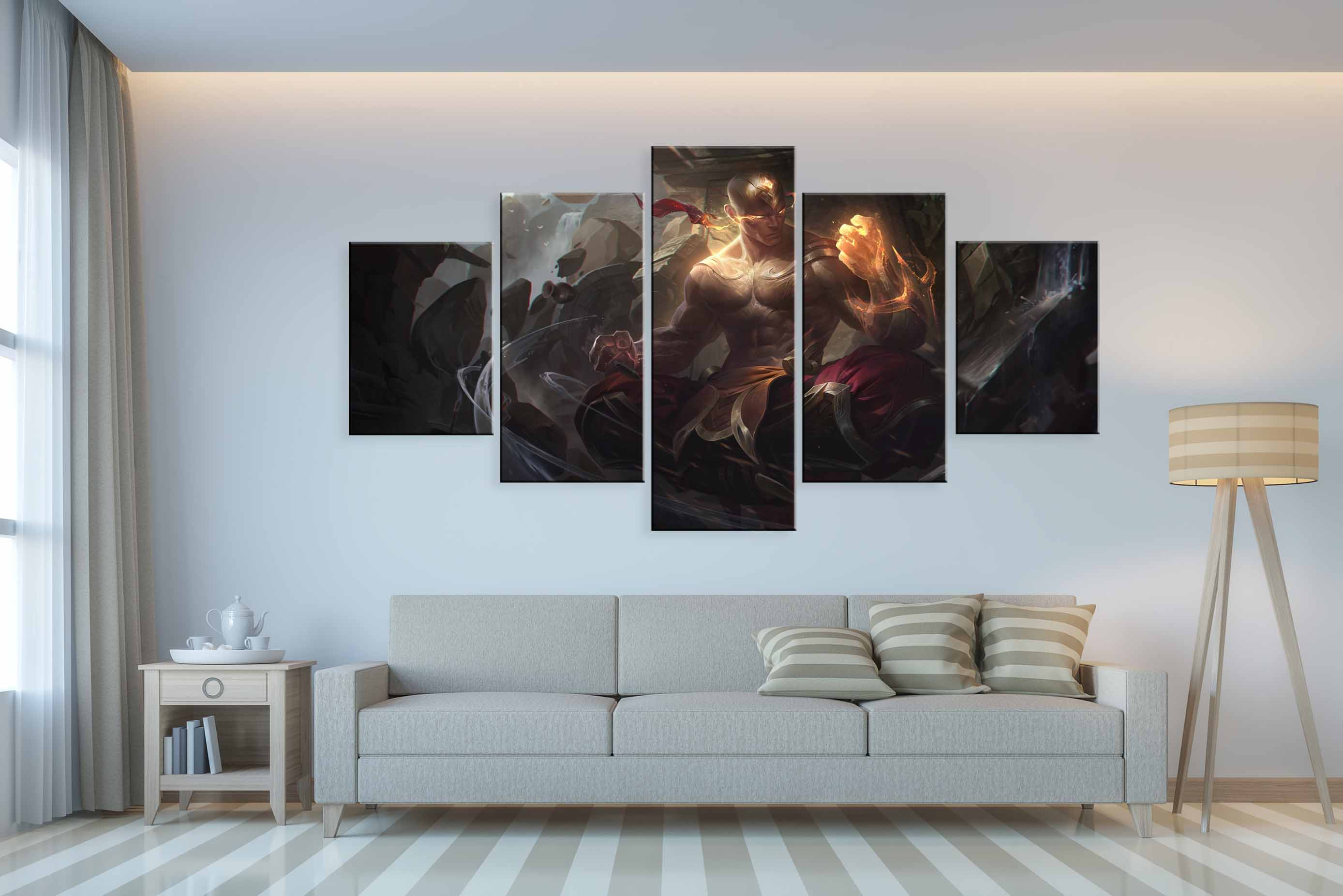 Fashion 5 Panel God Fist Lee Sin Game Canvas Printed Painting For