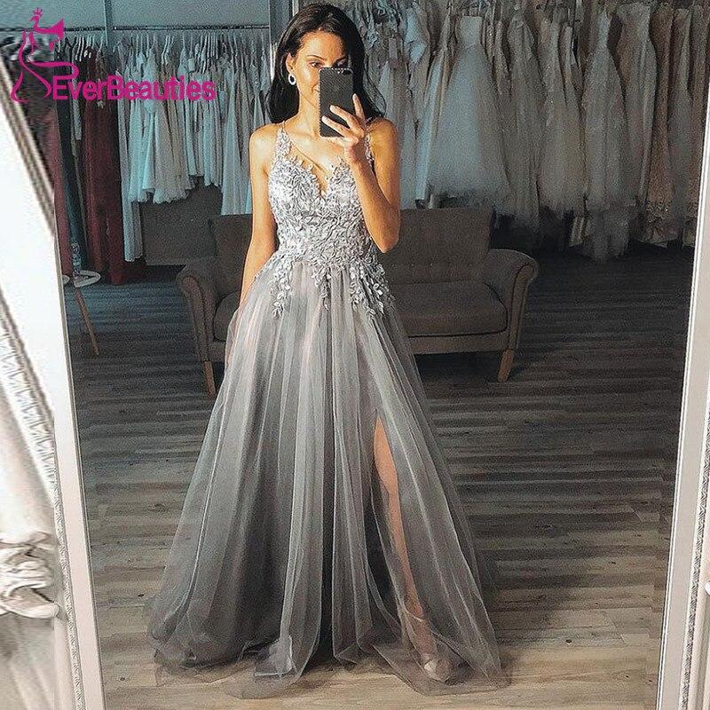Long Prom Dresses 2020 Tulle Appliques Side Slit Vestidos De Gala V-Neck Prom Gown Robe De Soiree