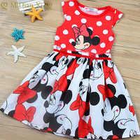 Vestido de verano con estampado de Minnie Mouse y lunares, para niñas pequeñas, de princesa, 0 a 6 años