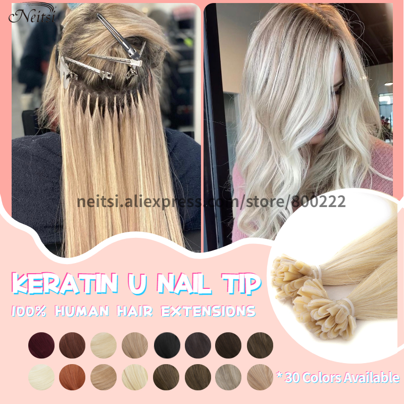 Neitsi Straight Keratin Capsules Human Fusion Hair Nail U Tip Machine Made Remy Pre Bonded Hair Extension 16 20 24 28 Limpid In Sight