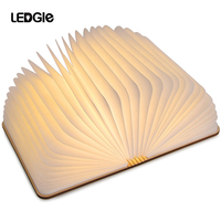 LEDGLE LED Portable USB Rechargeable LED Magnetic Foldable Wooden Book warm Lamp Night Light Desk Lamp Hot Sale for Home Decor