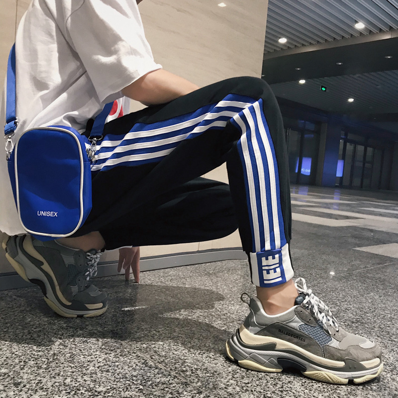Autumn New Style Three Bars Stripes Athletic Pants Men's Korean-style Loose-Fit Sweatpants Casual Beam Leg Trousers Fashion