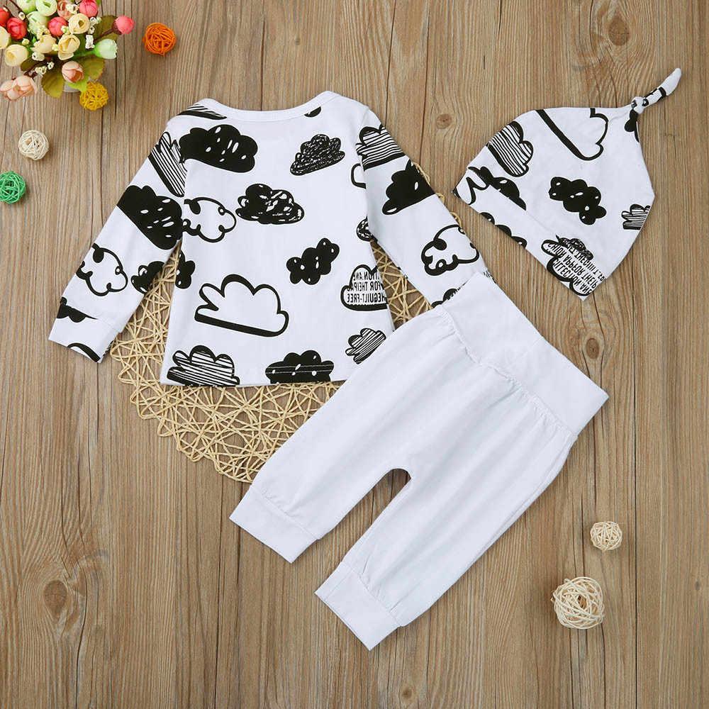 3 Pcs 신생아 아기 소년 옷 세트 구름 인쇄 면화 긴 소매 티셔츠 + 캐주얼 솔리드 컬러 바지 + 모자 유아 의류 복장
