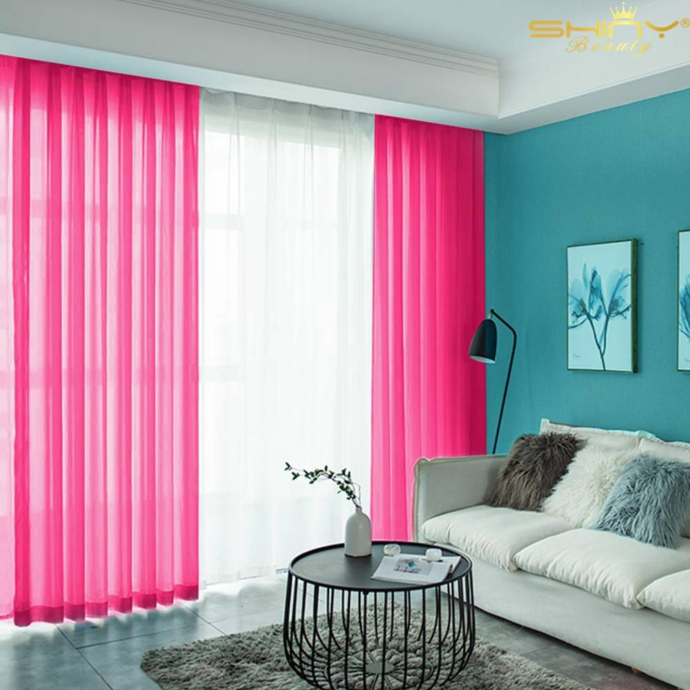 Fuchsia Blackout Voile Curtains 2 Panel-29''x108'' Long Living Room Curtains Hot Pink Tulle Backdrop Panels-M1007