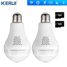 KERUI LED ışık 960P kablosuz panoramik ev güvenlik WiFi CCTV balıkgözü ampul lamba IP kamera 360 derece ev güvenlik hırsız