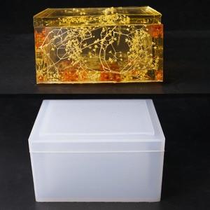 Criativo diy caixa de tecido molde de silicone para diy artesanato casa artesanal caixa de armazenamento fazendo moldes resina cola epoxy