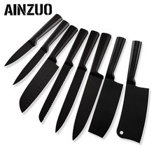 AINZUO 3cr13 Stainless Steel Kitchen Knife Set Fruit Utility Santoku Slicing Bread Chef Nakiri Chopping Accessories