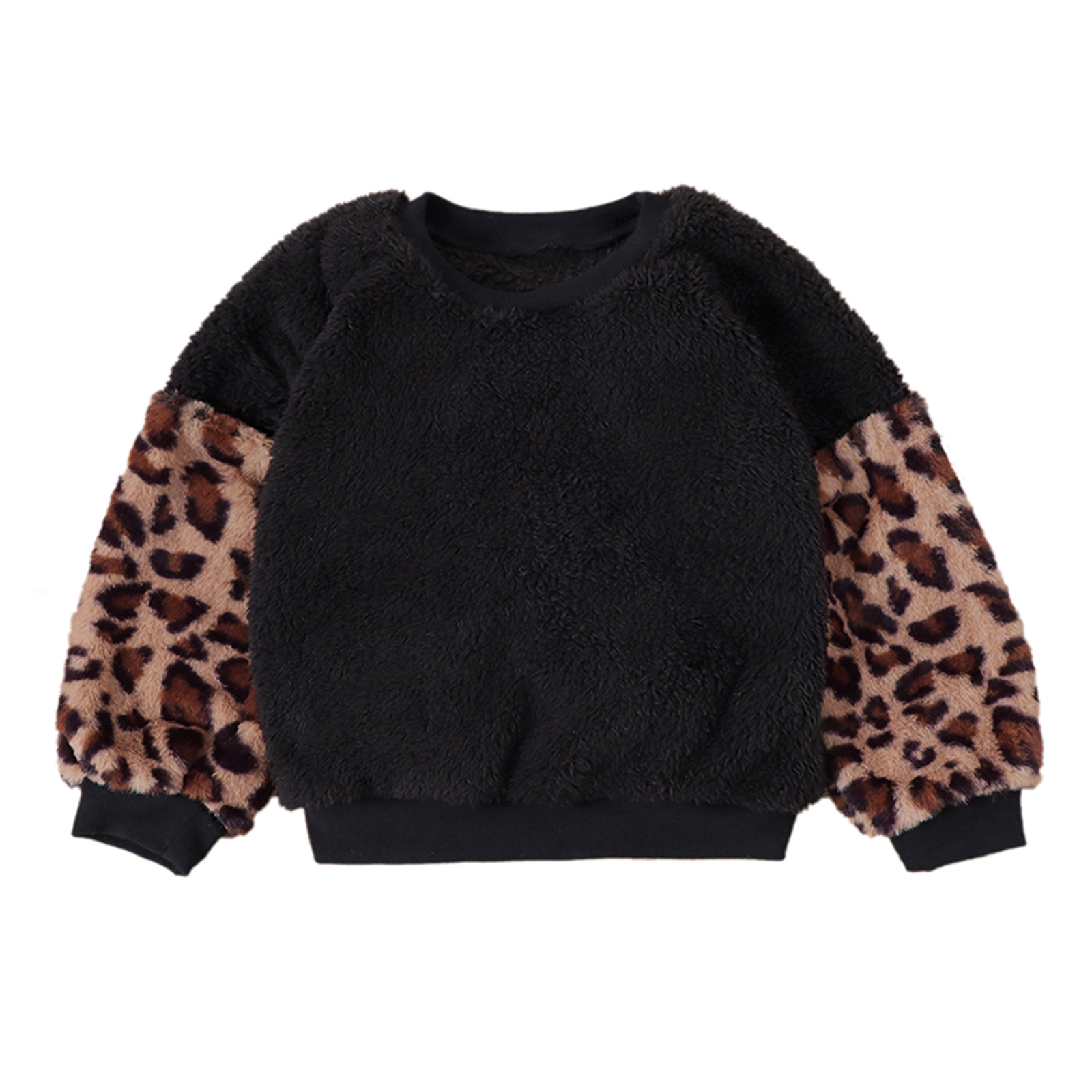 Autumn Winter Newly Baby Girls Boys Sweater Tops 3 Colors Fur Leopard Patchwork Long Lantern Sleeve Pullover Tops 2-7Y