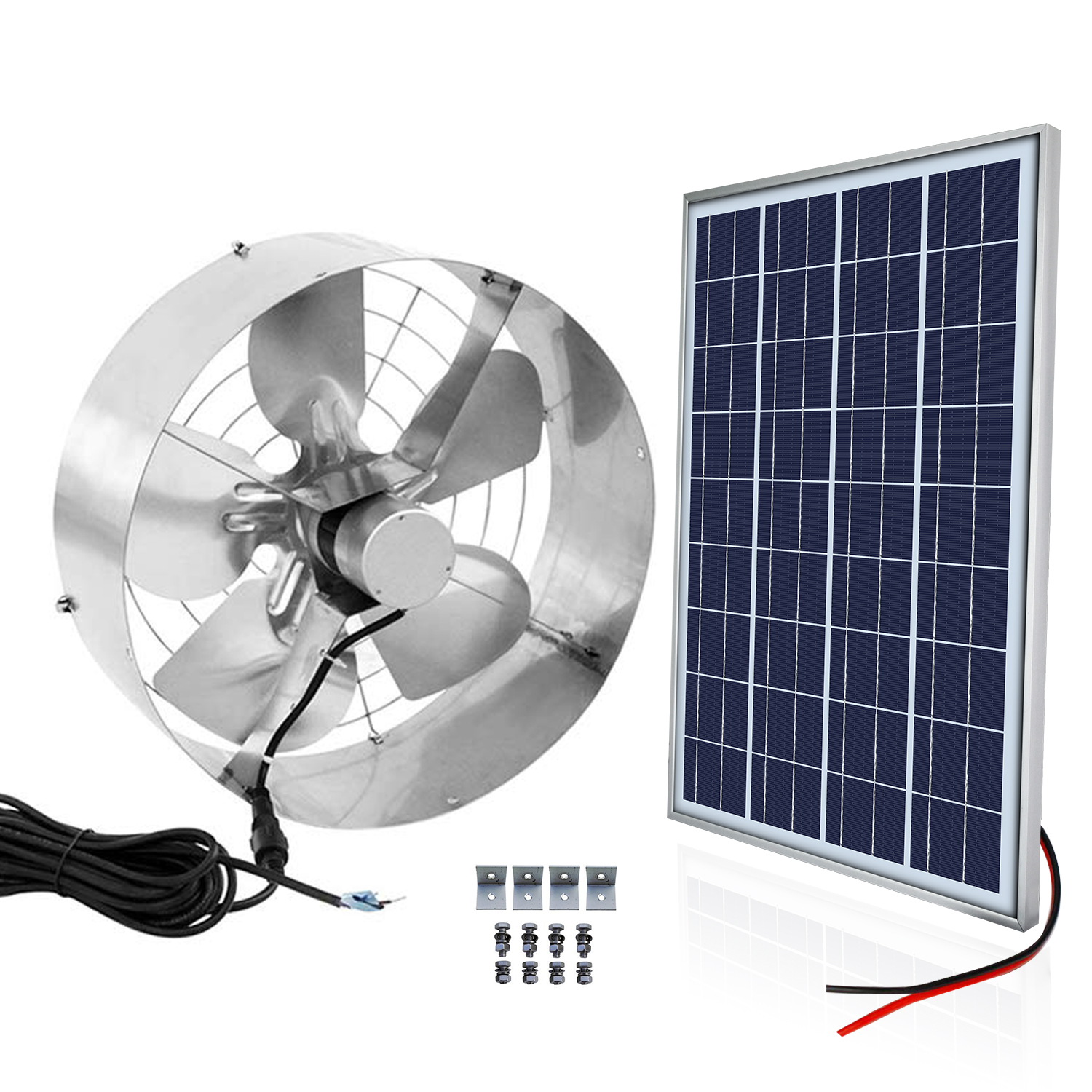 DC 12V 3000 CFM Commercial Industrial Extractor 65W Ventilator Gable Roof Cooling Vent Fan 25W Solar Panel For Home Ranch