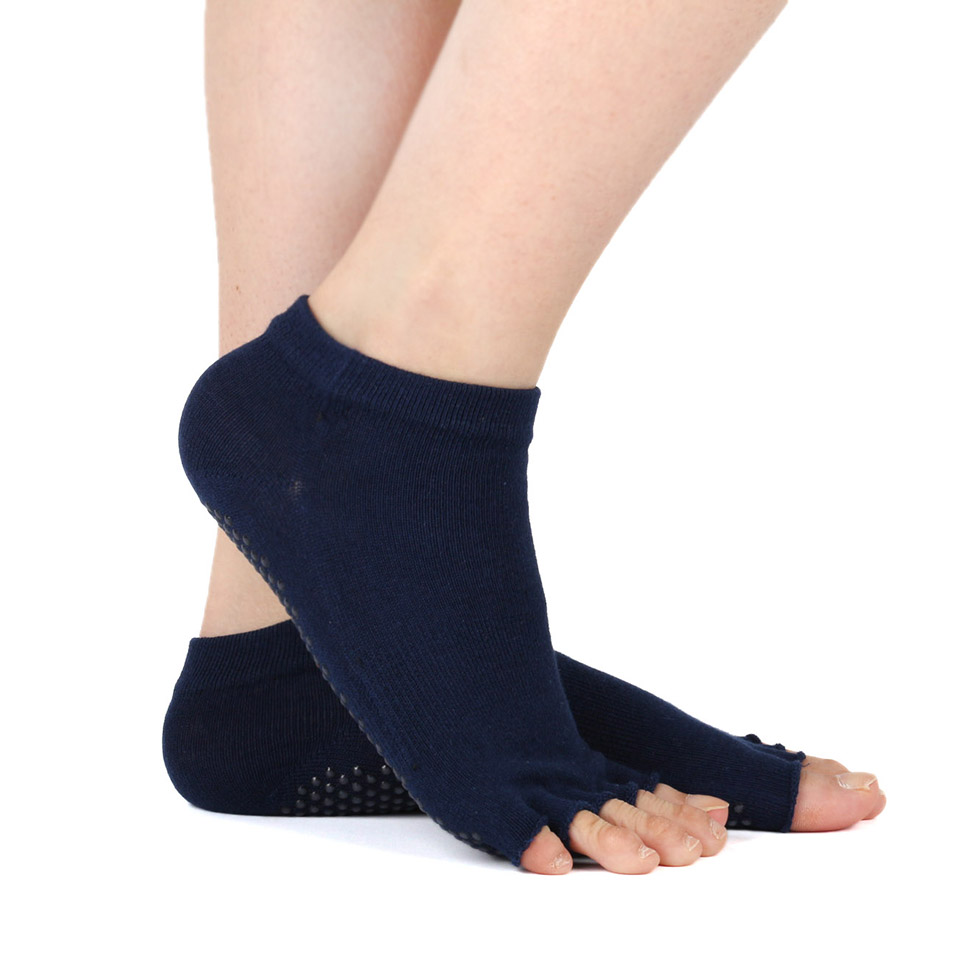 Womens Half Toe Yoga Socks Non-Slip Peep Toe Pilates Ankle Grip Fitness Durable Open Half Five Fingers Cotton Yoga Socks Gym