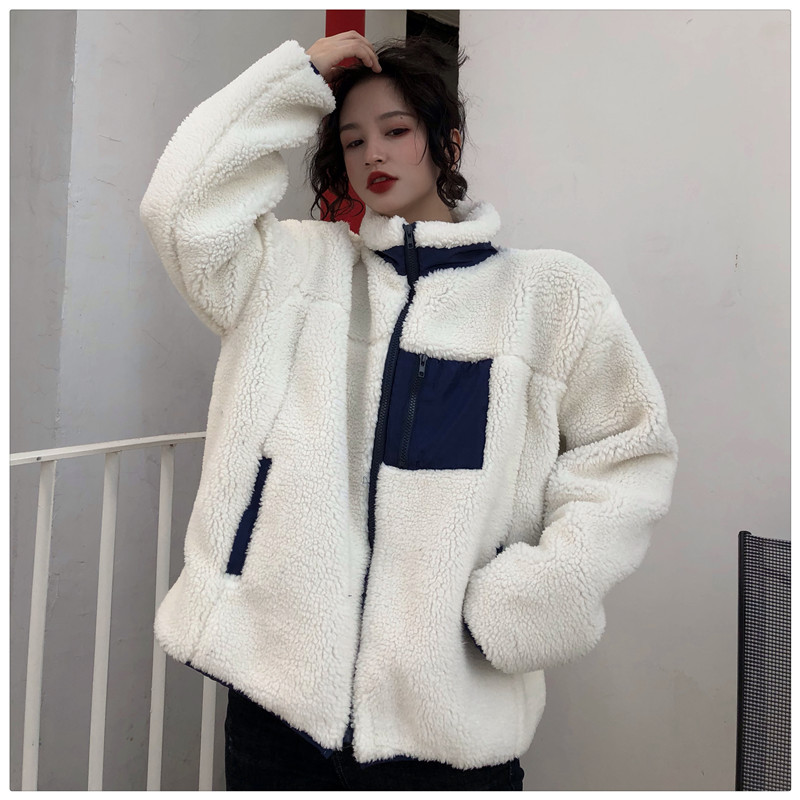 Photo Shoot Korean-style Lambs Wool Two-sided Pair Joint Cotton Coat Women's