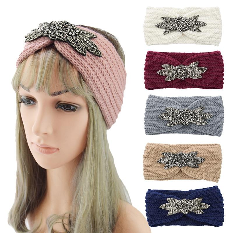 Crystal Rhinestone Headband Six-Leaf Crystal Beaded Knitted Headband Winter Crochet Very Popular Head Wrap Wide Fashion Hairband