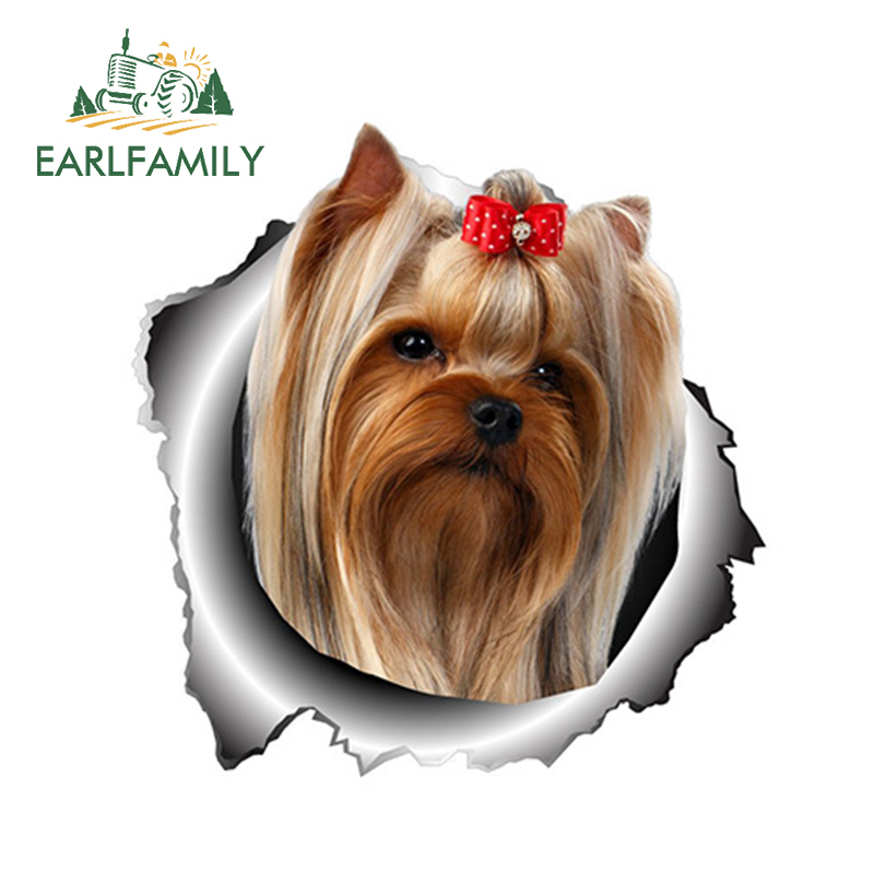 EARLFAMILY 13cm X 12.6cm Yorkshire Terrier Vinyl Sticker Torn Metal Decal Animal Car Stickers Window Bumper Pet Dog Car Styling