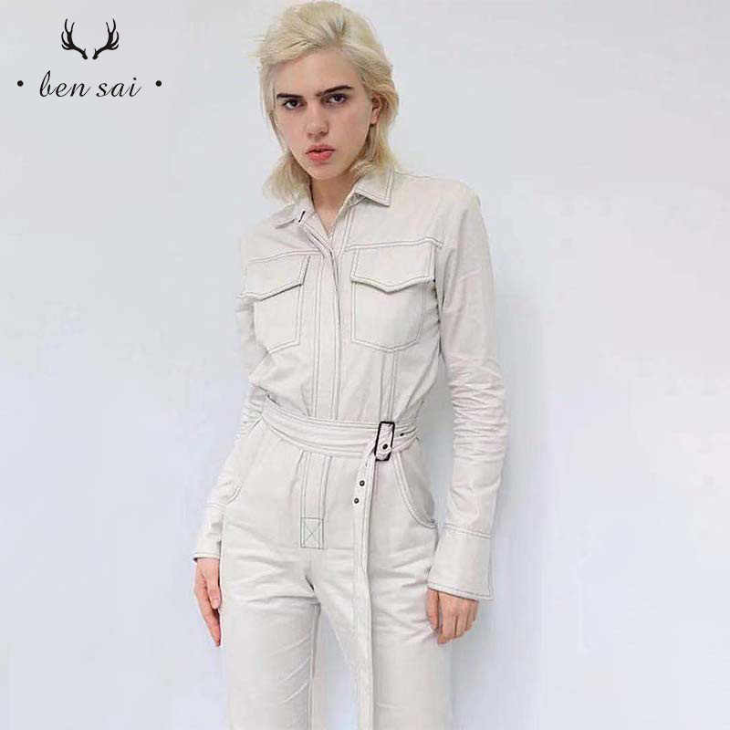 Frauen Denim Sexy Overall Romper Langarm Gürtel Schwarz Weiß Khaki Frauen Jeans Overall Frauen Streetwear Overalls Neue