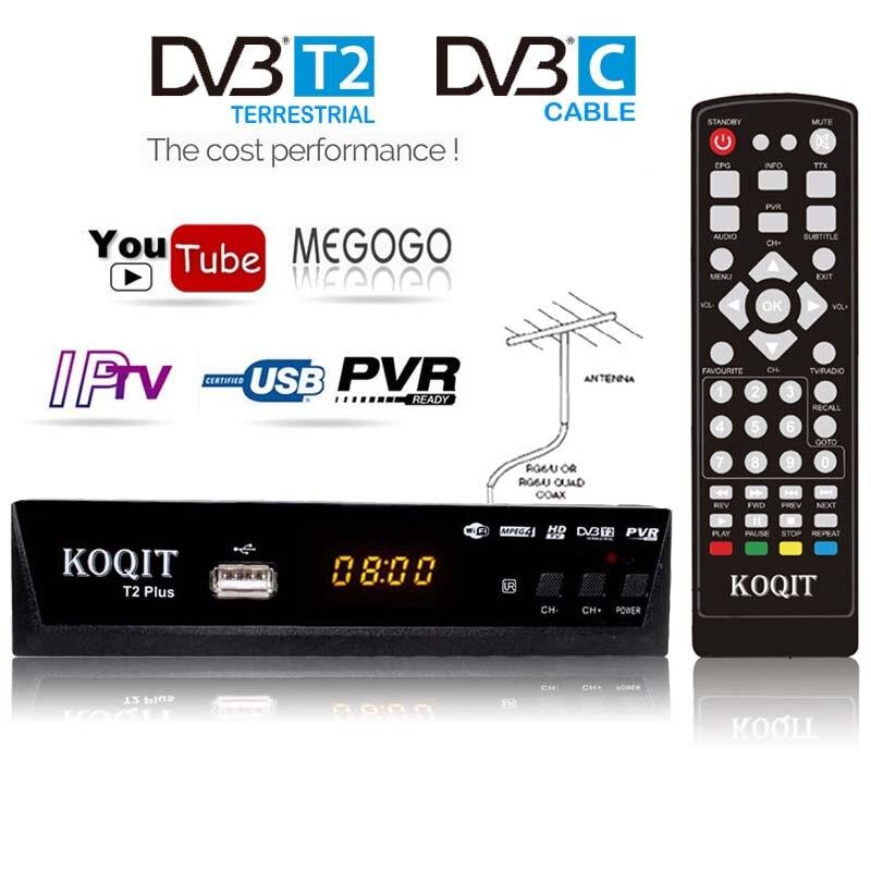 Free 1080p DVBC Cable Digital TV Box DvbT2 DVB-T2 Tuner DVB T2 TV Receiver IPTV M3u Line USB Dvb-C Wifi Youtube For VGA Monitor