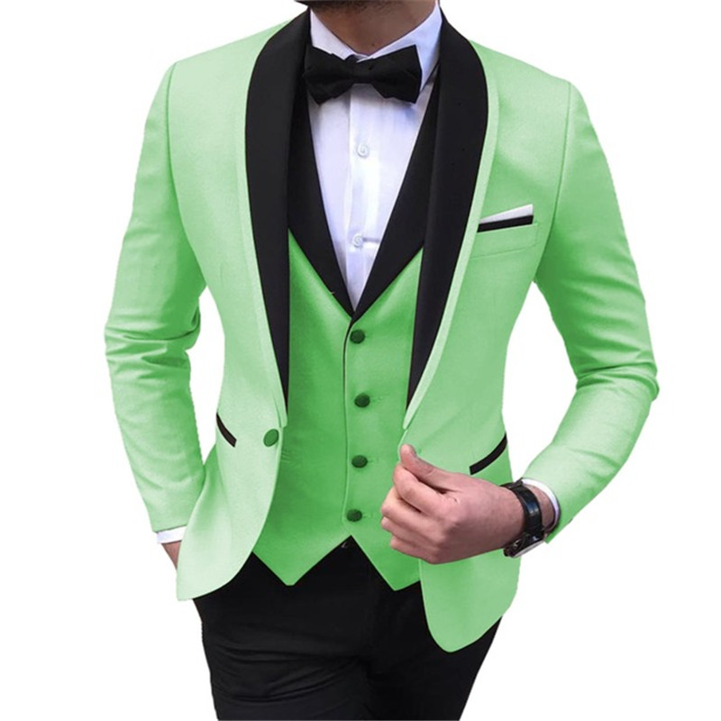 Men's Suit 3 Pieces Casual Shawl Lapel Brown White Costume Homme for Wedding Tuxedos Groomsmen (Blazer+Vest+Pant) - 3